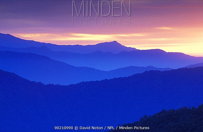 Dawn over foothills of Annapurna Himalayas at Tatapani, Nepal  -  David Noton/ npl