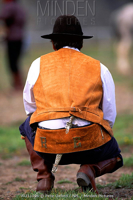 Gaucho at rodeo, rear view kneeling, Chalten, Fitzroy, Patagonia, Argentina, S America  -  Pete Oxford/ npl