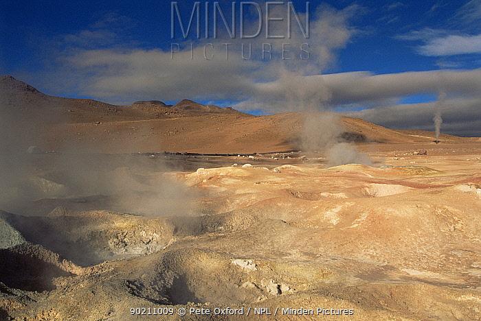 Sol de Manana fumeroles at 4850 metres, altiplano region, Bolivia, South America  -  Pete Oxford/ npl