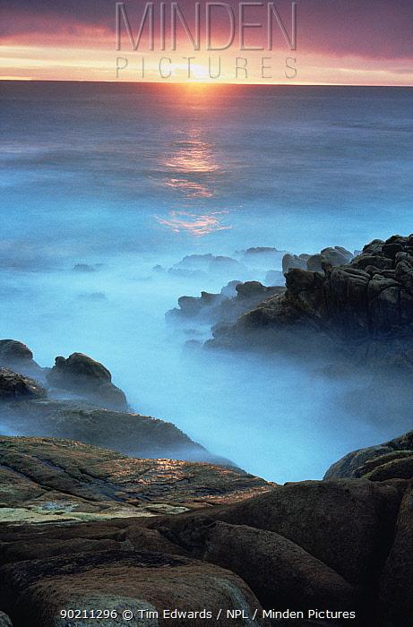 Coast and surf at sunset, Cape Leeuwin-Naturaliste NP, Western Australia  -  Tim Edwards/ npl