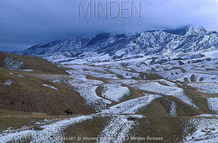Mounted hunter in Kazakhstan landscape near border with China, Asia  -  Vincent Munier/ npl