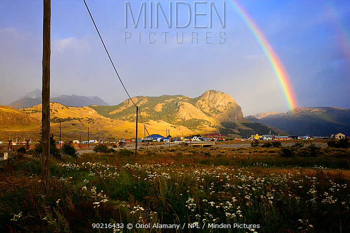 Rainbow over the town of El Chalten, Los Glaciares National Park, Patagonia, Argentina, January 2006  -  Oriol Alamany/ npl