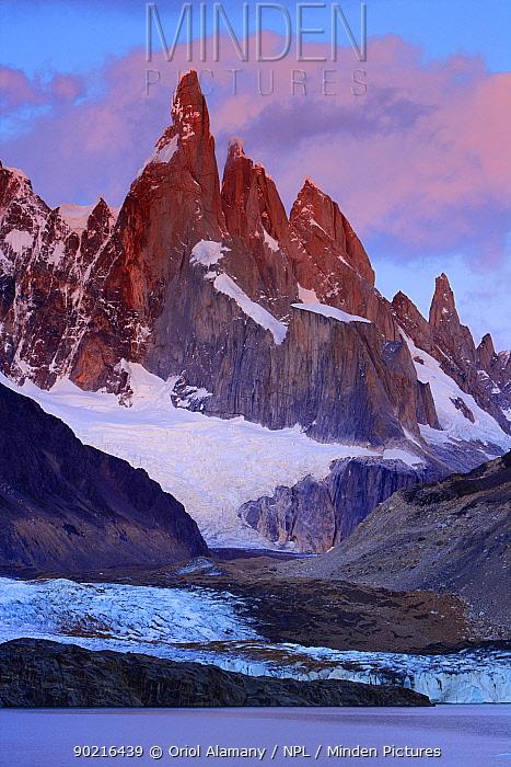 Laguna Torre and Grande glacier below Cerro Torre (3102 m) at dawn, Los Glaciares National Park, Andes, Patagonia, Argentina, January 2006  -  Oriol Alamany/ npl