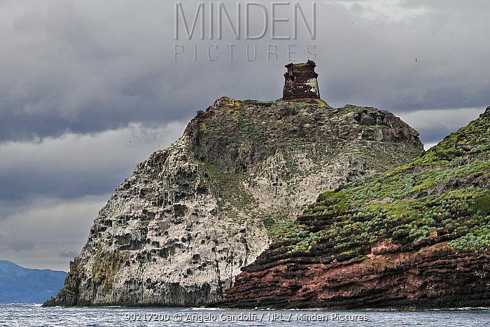A medieval watch tower Torre dello Zenobito Capraia island, National Park of the Tuscany archipelago, Italy, May 2010  -  Angelo Gandolfi/ npl