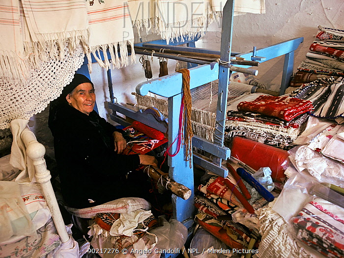 Portrait of woman working at weaving and needlework, Anogia village Crete, Greece  -  Angelo Gandolfi/ npl