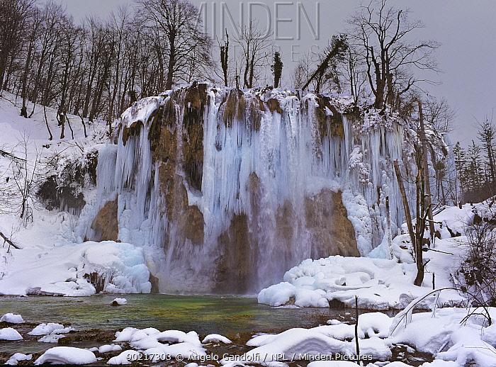 The Galovacki Buk barrier and falls, frozen in winter, Plitvice Lakes National Park, Croatia  -  Angelo Gandolfi/ npl
