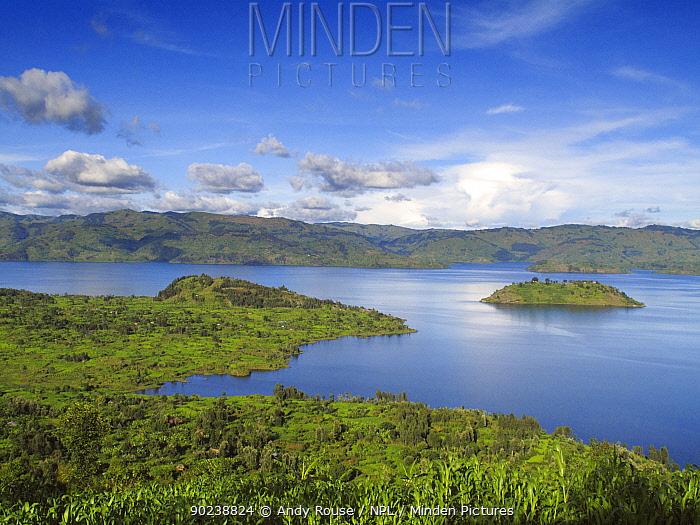 View of lake with island, below Virunga Volcanoes NP, Rwanda, Africa, April 2010  -  Andy Rouse/ npl