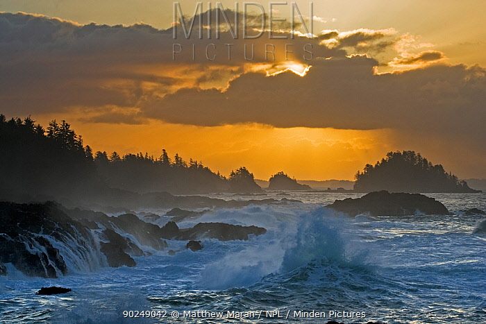 Rough seas crashing against rocky shore in front of a dramatic cloudy sky The Broken Group Islands, Ucluelet, Vancouver Island, Canada  -  Matthew Maran/ npl