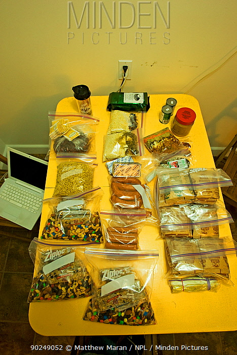Bags of food prepared for hiking the West Coast Trail Pacific Rim National Park, Vancouver Island, Canada, September  -  Matthew Maran/ npl