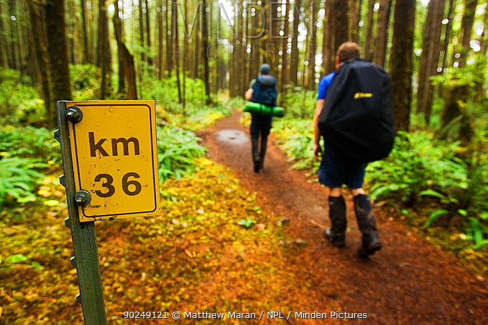 Hikers passing a sign informing them that they either have 36km to go, or have come 36km The West Coast Trail, Pacific Rim National Park, Vancouver Island, Canada, September Models released  -  Matthew Maran/ npl