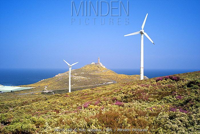 Wind turbines near the coast at Cabo Vilan, Galicia, Spain, May 2011  -  Rob Cousins/ npl