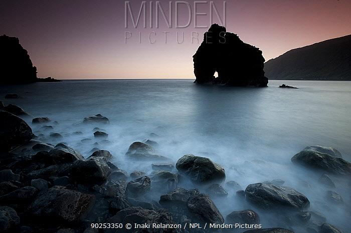 The Roque de Bonanza in dusky evening light The east coast of El Hierro Island, Canary Islands, February 2011  -  Inaki Relanzon/ npl