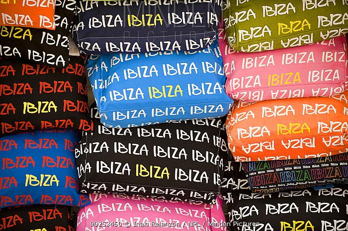 Stacks of Ibiza branded clothes Ibiza, Balearic Islands, Spain, June  -  Inaki Relanzon/ npl