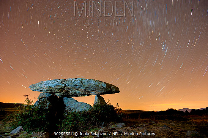 Dolmen d'Eyna at night, with a long exposure capturing star trails Eyne, Pyrenees, France, September 2010  -  Inaki Relanzon/ npl