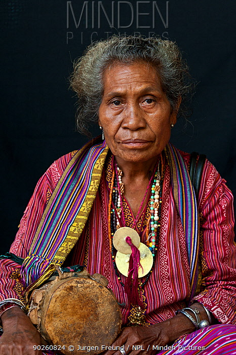 Portrait of East Timorese woman in traditional clothing, Maubara, East Timor, August 2010  -  Jurgen Freund/ npl