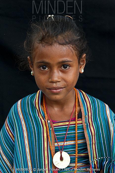 Portrait of East Timorese girl in traditional clothing, Maubara, East Timor, August 2010  -  Jurgen Freund/ npl
