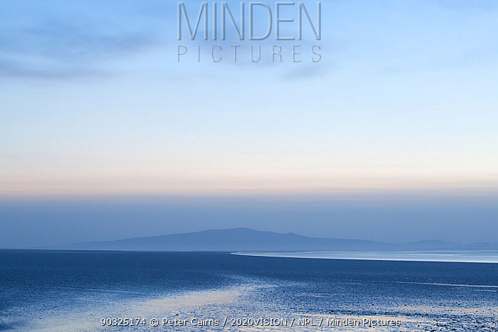 Sunset over coastal mudflats, Campfield Marsh RSPB reserve, Bowness, Solway Firth, Cumbria, UK, April 2011  -  Peter Cairns/ 2020V/ npl
