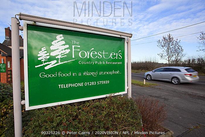 Green pub sign beside road in the National Forest, Moira, Derbyshire, UK, November 2011  -  Peter Cairns/ 2020V/ npl