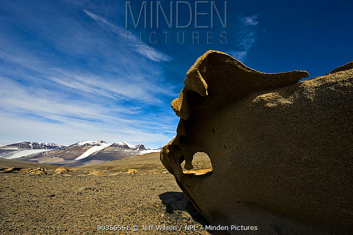 Ventefact, wind shaped rocks, in the Dry Valleys, Antarctica, December 2009 Taken on location for the BBC series, Frozen Planet  -  Jeff Wilson/ npl
