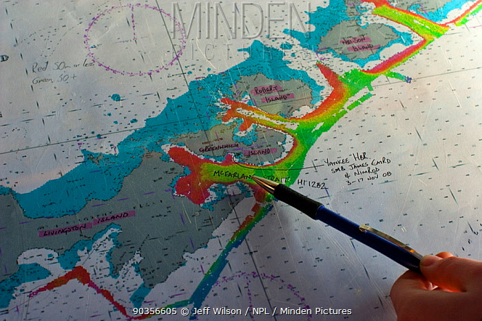 Nautical chart of the South Shetland Islands, South Atlantic, November 2008 Taken on location for the BBC series, Frozen Planet  -  Jeff Wilson/ npl