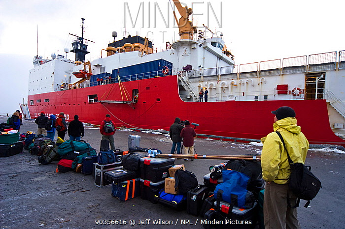 The Frozen Planet team waiting to board the United States Coastguard Cutter 'Healy' in Dutch Harbour, Alaska, USA, on their way to film Spectacled eider ducks in the Bering Sea, March 2008 Taken on location for the BBC series, Frozen Planet  -  Jeff Wilson/ npl