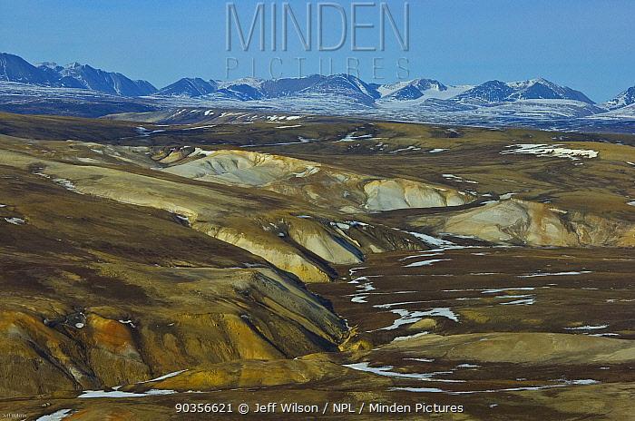 Aerial view of tundra landscape, Ellesmere Island, Nunavut, Canada, June 2008 Taken on location for BBC series, Frozen Planet, Summer  -  Jeff Wilson/ npl