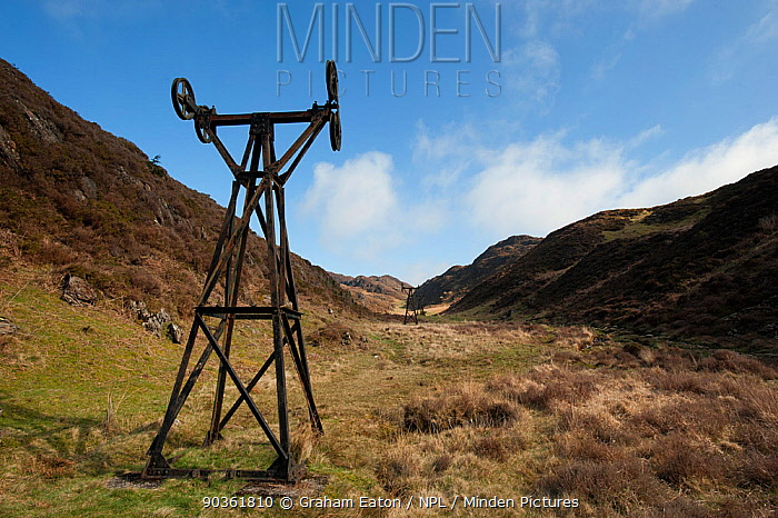 Cwm Bychan ropeway, a relic of the copper mining industry Beddgelert, Wales, April 2011  -  Graham Eaton/ npl