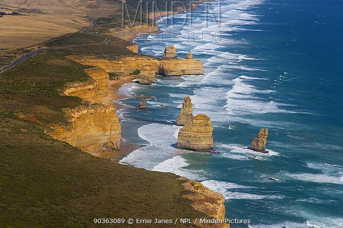 Aerial view of the Twelve Apostles seastacks off the coast of Victoria, Australia, January 2009  -  Ernie Janes/ npl