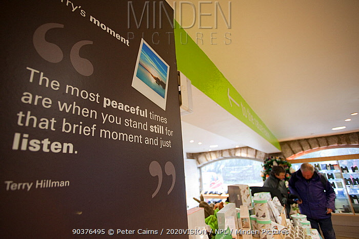 Shop and advertising at at RSPB Leighton Moss visitor centre, showing benefits of wildlife tourism, Morecambe Bay, Cumbria, England, UK, February  -  Peter Cairns/ 2020V/ npl