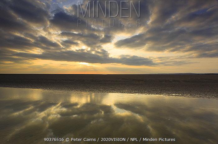 Sunset reflected in tidal inlet, Morecambe Bay, Lancashire, England, UK, February 2012  -  Peter Cairns/ 2020V/ npl