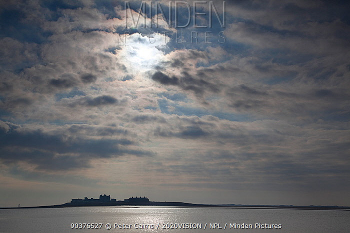 Piel Island silhouetted on the horizon, Morecambe Bay, Cumbria, England, UK, Februay  -  Peter Cairns/ 2020V/ npl