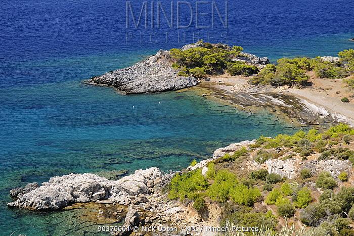 Rocky cove, Tsopela, Samos south coast, Greece, August  -  Nick Upton/ npl