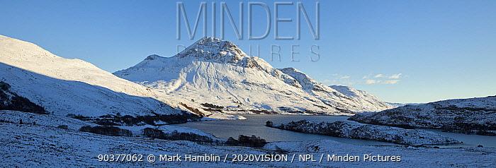 Panoramic view of Cul Beag and Loch Lurgainn in winter, Coigach, Wester Ross, Scotland, UK, December 2010  -  Mark Hamblin/ 2020V/ npl