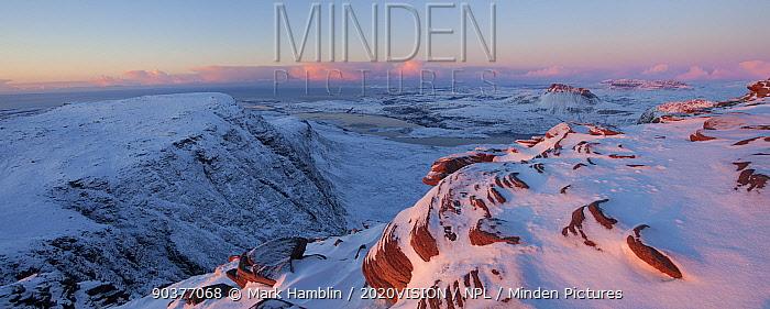 View from Sgurr an Fhidhleir towards Stac Pollaidh at sunset, Coigach, Wester Ross, Scotland, UK, December 2010  -  Mark Hamblin/ 2020V/ npl