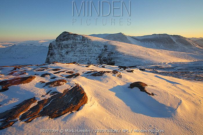 Exposed rock and snow on Ben More Coigach in winter, Coigach, Wester Ross, Scotland, December 2010  -  Mark Hamblin/ 2020V/ npl