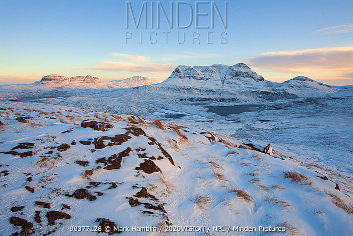 View of Cul Mor and Suilven in winter, Coigach, Wester Ross, Scotland, UK, December 2010  -  Mark Hamblin/ 2020V/ npl
