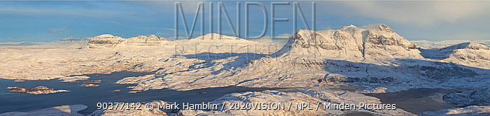 View from Stac Pollaidh towards Cul Mor and Suilven in winter, Coigach, Wester Ross, Scotland, UK, December 2010  -  Mark Hamblin/ 2020V/ npl