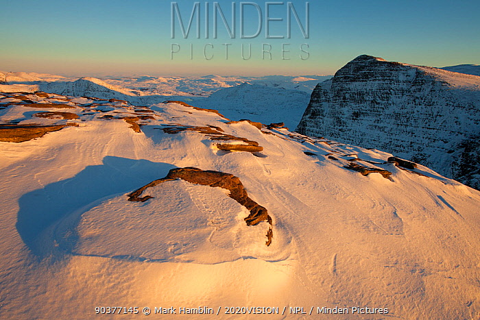Exposed rock and snow deposits on Ben More Coigach in winter, Coigach, Wester Ross, Scotland, December 2010  -  Mark Hamblin/ 2020V/ npl