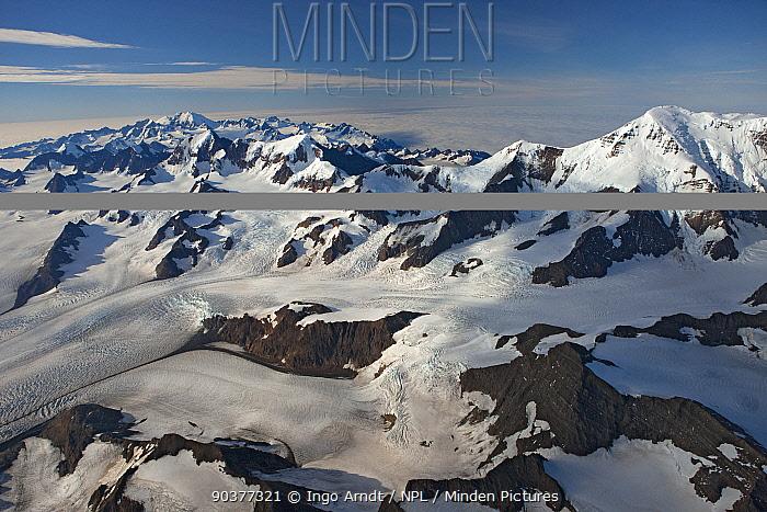 Aerial view of Nordenskjsld Glacier with Paget Glacier and Allardyce Mountain Range, South Georgia, March 2011  -  Ingo Arndt/ npl