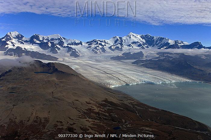 Aerial view of Nordenskjsld Glacier with Allardyce Mountain Range, South Georgia, February 2011  -  Ingo Arndt/ npl