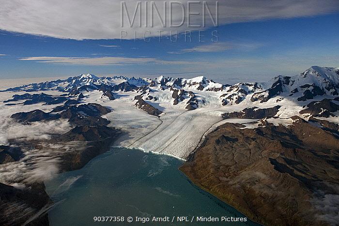 Aerial view of Nordenskj?ld Glacier with Allardyce Mountain Range, South Georgia, March 2011  -  Ingo Arndt/ npl