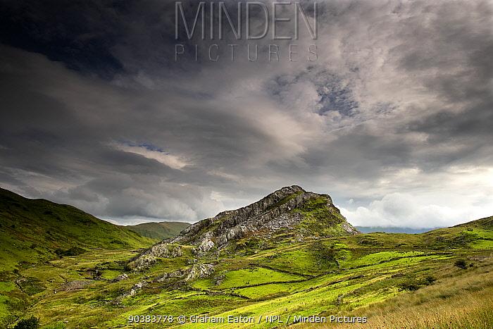 A landscape view of Clogwyngarreg, a small rocky outcrop near Beddgelert, Snowdonia NP, Wales, August  -  Graham Eaton/ npl