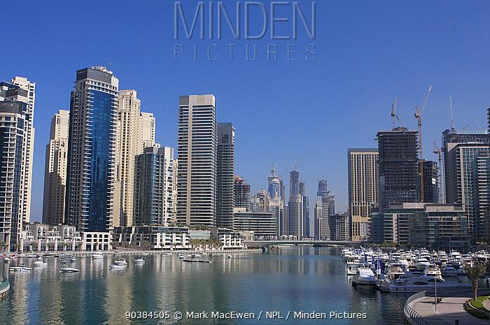 Boats and skyscrapers at Dubai Marina, Dubai, UAE, January 2010  -  Mark MacEwen/ npl