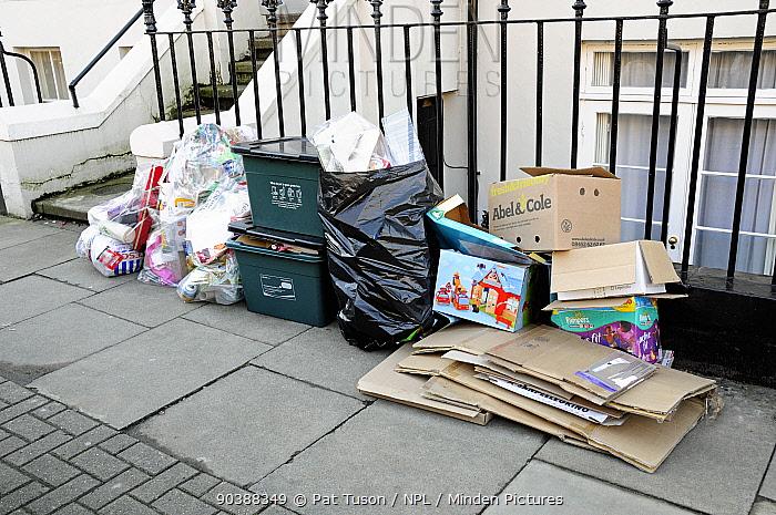 Post Christmas consumer packaging outside house along with full recycling bins, London Borough of Islington, London, UK  -  Pat Tuson/ npl