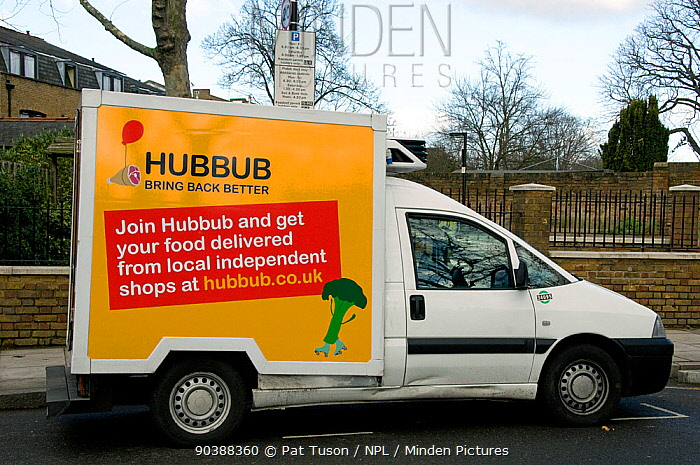 Hubbub delivery van used to deliver food from local independent shops, Highbury, London Borough of Islington England, UK  -  Pat Tuson/ npl
