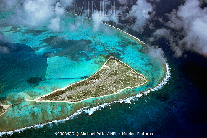 Eastern Island showing the WW2 airstrip which was used to launch the initial attack on the Japanese fleet for the Battle of Midway, Midway, Central Pacific  -  Michael Pitts/ npl