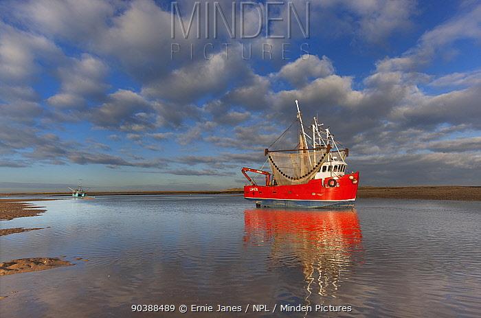 Fishing Boat, Brancaster harbour mouth, North Norfolk, UK, December 2012  -  Ernie Janes/ npl