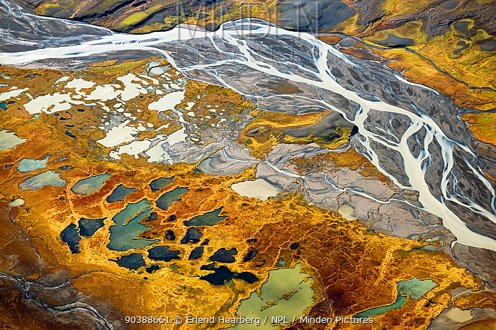 Aerial view down river to the east of the Hofsjakull glacier and west of the Sprengisandur upland desert Innumerable rivulets flow from beneath the glacier in this area of tundra which abounds in ponds and palsas, and boasts remarkably rich vegetation for this altitude 600m above sea level, Iceland, September 2010, EMBARGOED BARCROFT  -  Erlend Haarberg/ npl
