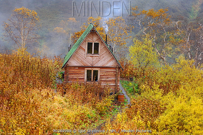Ranger station in the Valley of the Geysers in early Autumn Kronotsky Zapovednik Nature Reserve, Kamchatka Peninsula, Russian Far East, October Sequence 2 of 3  -  Igor Shpilenok/ npl