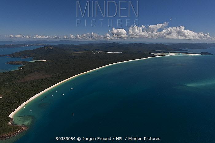 Aerial view of Whitehaven Beach, a seven kilometre stretch of white sand, Whitsunday Island, Coral Sea, Pacific Ocean, August 2011  -  Jurgen Freund/ npl